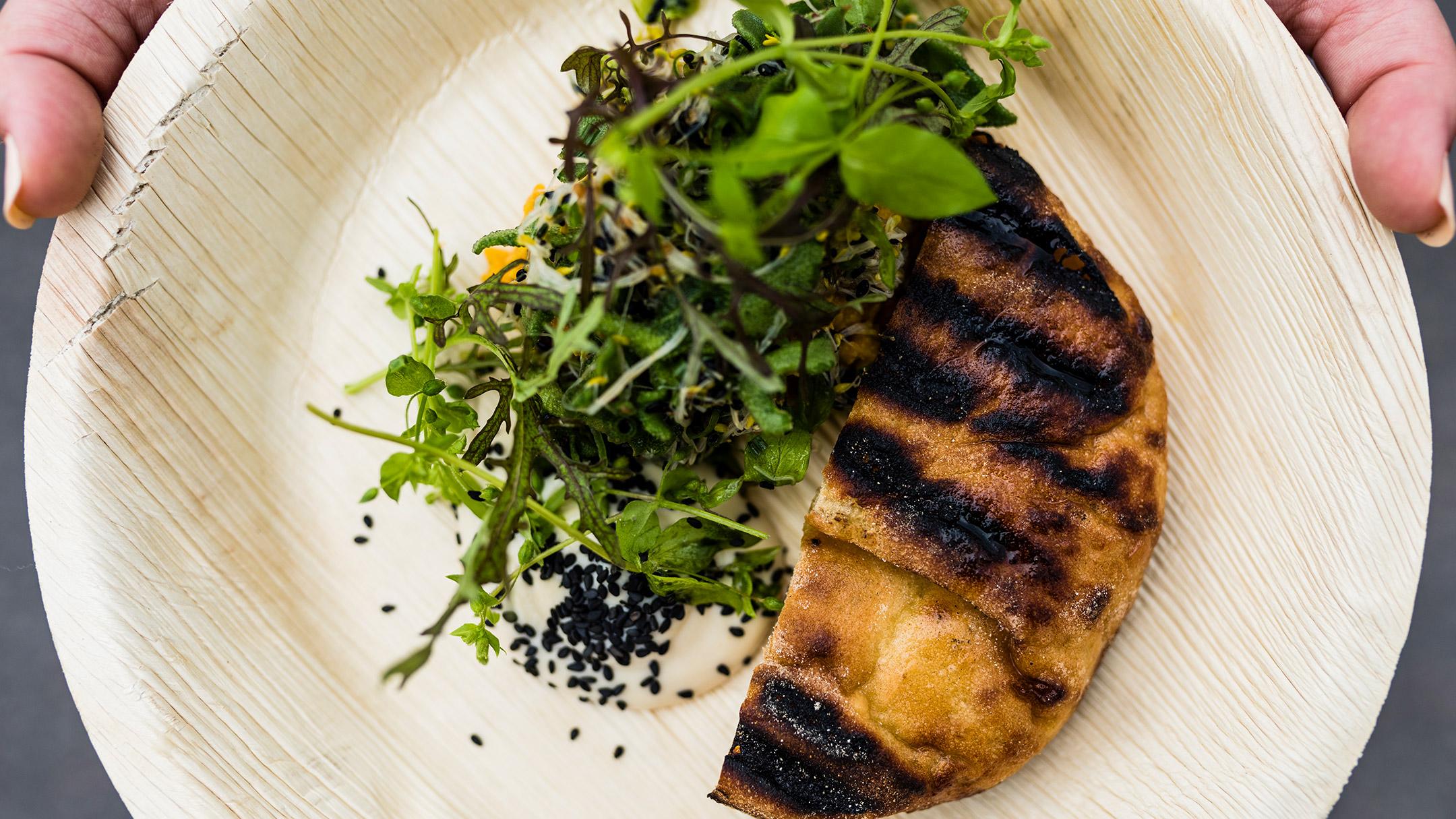 Flatbread meal by restaurant Shelter